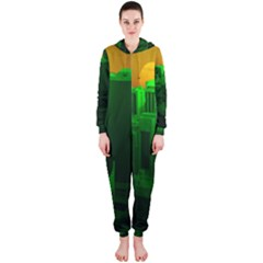 Green Building City Night Hooded Jumpsuit (Ladies)