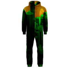 Green Building City Night Hooded Jumpsuit (Men)
