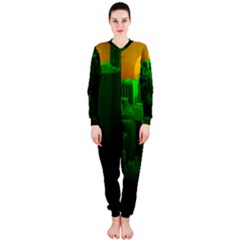 Green Building City Night OnePiece Jumpsuit (Ladies)