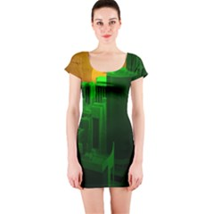 Green Building City Night Short Sleeve Bodycon Dress