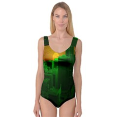 Green Building City Night Princess Tank Leotard