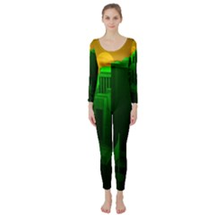 Green Building City Night Long Sleeve Catsuit