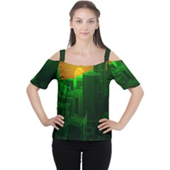 Green Building City Night Women s Cutout Shoulder Tee