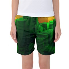 Green Building City Night Women s Basketball Shorts