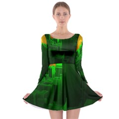 Green Building City Night Long Sleeve Skater Dress