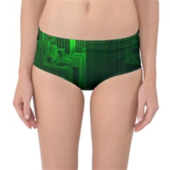 Green Building City Night Mid-Waist Bikini Bottoms