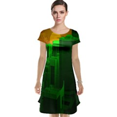 Green Building City Night Cap Sleeve Nightdress