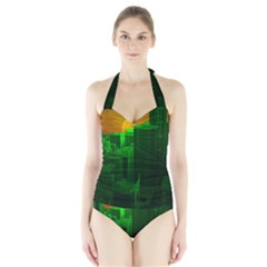 Green Building City Night Halter Swimsuit