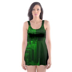 Green Building City Night Skater Dress Swimsuit