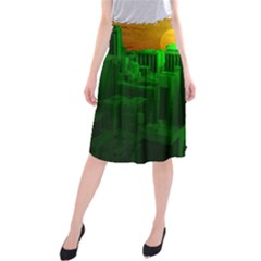 Green Building City Night Midi Beach Skirt