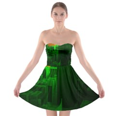 Green Building City Night Strapless Bra Top Dress