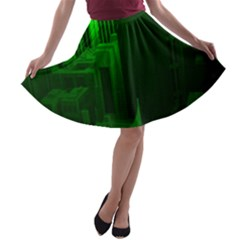 Green Building City Night A-line Skater Skirt