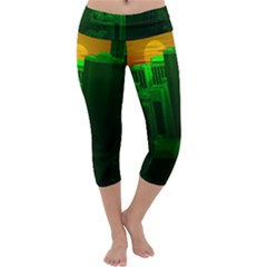 Green Building City Night Capri Yoga Leggings
