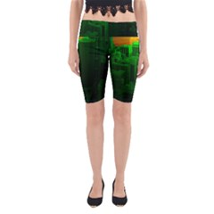 Green Building City Night Yoga Cropped Leggings