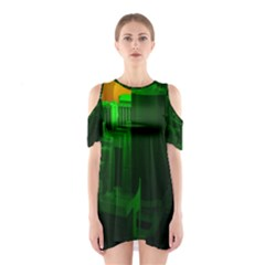 Green Building City Night Cutout Shoulder Dress