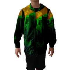 Green Building City Night Hooded Wind Breaker (Kids)