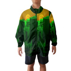 Green Building City Night Wind Breaker (Kids)