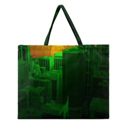 Green Building City Night Zipper Large Tote Bag