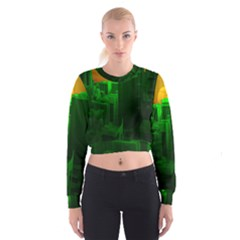 Green Building City Night Women s Cropped Sweatshirt
