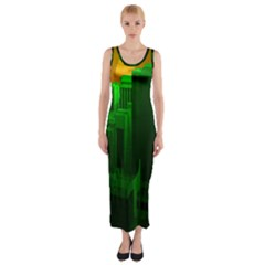 Green Building City Night Fitted Maxi Dress