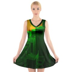 Green Building City Night V-Neck Sleeveless Skater Dress