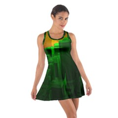 Green Building City Night Cotton Racerback Dress