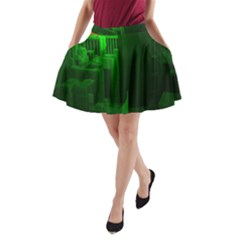 Green Building City Night A-Line Pocket Skirt