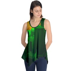 Green Building City Night Sleeveless Tunic