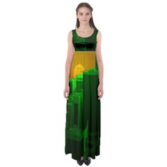 Green Building City Night Empire Waist Maxi Dress