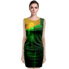 Green Building City Night Classic Sleeveless Midi Dress