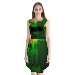 Green Building City Night Sleeveless Chiffon Dress