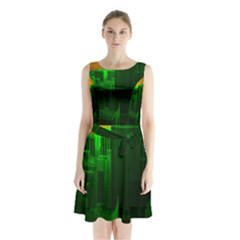 Green Building City Night Sleeveless Chiffon Waist Tie Dress