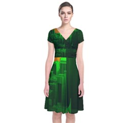 Green Building City Night Short Sleeve Front Wrap Dress