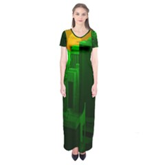 Green Building City Night Short Sleeve Maxi Dress