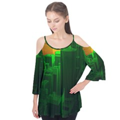 Green Building City Night Flutter Tees