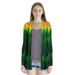 Green Building City Night Drape Collar Cardigan