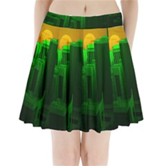 Green Building City Night Pleated Mini Skirt