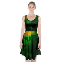 Green Building City Night Racerback Midi Dress