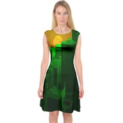 Green Building City Night Capsleeve Midi Dress