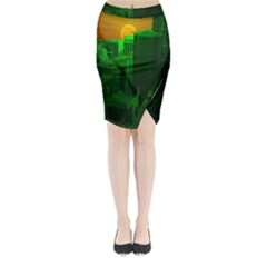 Green Building City Night Midi Wrap Pencil Skirt
