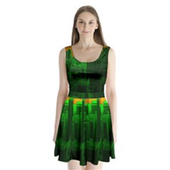 Green Building City Night Split Back Mini Dress