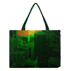 Green Building City Night Medium Tote Bag