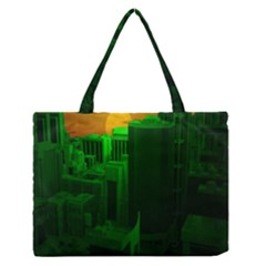Green Building City Night Medium Zipper Tote Bag