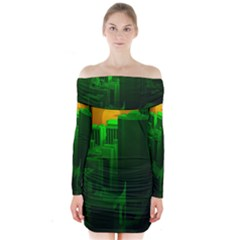 Green Building City Night Long Sleeve Off Shoulder Dress