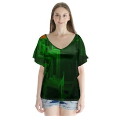 Green Building City Night Flutter Sleeve Top