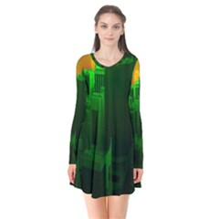 Green Building City Night Flare Dress