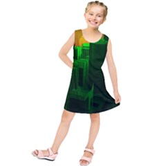 Green Building City Night Kids  Tunic Dress
