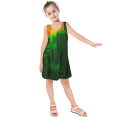 Green Building City Night Kids  Sleeveless Dress