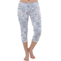 Houses Pattern Capri Yoga Leggings