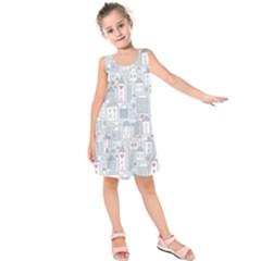 Houses Pattern Kids  Sleeveless Dress